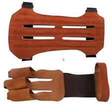 IRQ Archery Leather Protective Gear Arm Guard 2 Straps with Three Finger Gloves