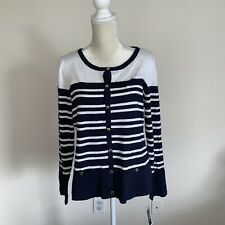 Karen Scott Women's Striped Cardigan Bright White Navy Blue Combo Petite XL N33