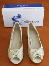 New Lunar Beige Flat peep toe with bow punched lace effect shoes size 5 (EUR38)