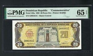 Dominican Republic 20 Pesos 1992 P139a Commemorative Uncirculated Graded 65