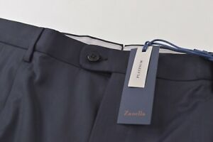 Zanella Platinum NWT Dress Pants Size 46 Navy Loro 150's Wool Bennett Pleat $550