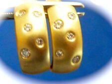 Fine diamonds 14k yellow gold cuff fine diamond pierced earrings Signed ASRA