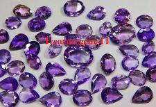 100 CT WHOLESALE LOT NATURAL BRAZILIAN VVS PURPLE AMETHYST CUT FACETED CABOCHON