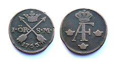 1 Ore 1763 Suède/ Sweden. Adolf Frederick. Cuivre/ Copper
