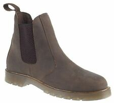 CHILDRENS BROWN LEATHER SIZE 2 3 4 5 6 AIR CUSHION WORK WEAR SLIP ON DEALER BOOT