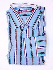 ROBERT GRAHAM Dress LONG SLEEVE Button SHIRT Top 39 15 1/2 M Striped COTTON Silk