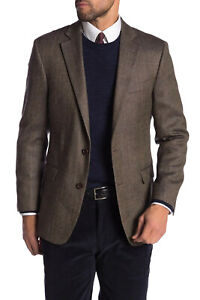 Brooks Brothers Men's Regent Fit Windowpane Wool Blazer, Brown, 40R 0039-4