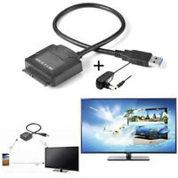"USB3.0 To SATA 2.5""/3.5"" SSD/HDD Hard Drive Data Cable Adapter + Power Supply Cx"