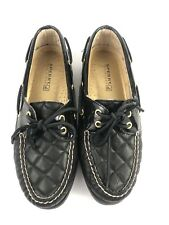 Womens Sperry Top-Siders Quilted Black Leather Patent Accent Boat Shoes Sz 7.5