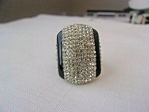 AKKAD Crystal Rhinestone Pave Black Enamel Elegant Statement Ring Size 12