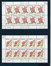- Monaco  feuillet de 10  flore fleurs  roses orchidées  1999  num: 2194/95  **