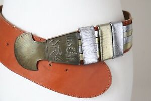 Vintage Belt Wide Leather Tan Brown / Gold 1980s - Ancient Writing - Medium