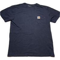 Carhartt Work In Progress Men's Size Medium Pocket T Shirt Navy Blue Work Logo