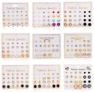 A Set Of 12 Pairs Different Style Ear Studs Earrings Allergy Free Wholesale UK