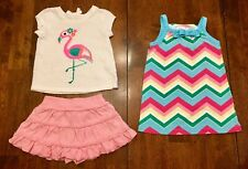 Lot of 3 Pieces Cherokee & Jumping Beans Baby Girl Summer Clothes - Size 12 Mos