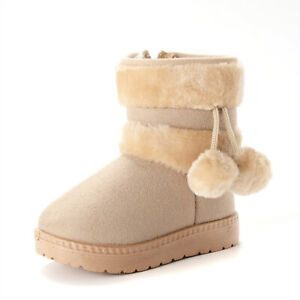 Lovely Baby Girls Kid Winter Warm Thick Snow Boots Casual Walk Ankle Boots Shoes