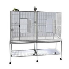 A&E Cage Double Flight Bird Cage with Divider- 64 X 21- Pure White NEW