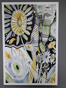 ORIGINAL ARTWORK FLOWERS FLORAL ABSTRACT ACRYLIC LARGE CANVAS PAINTING SIGNED