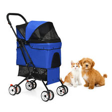 Petsjoy Folding Pet Stroller Cat Dog Installation-free High-capacity Basket