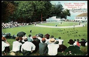 1908 Postcard BASEBALL GAME at Chautauqua, NY Institute Athletic Field