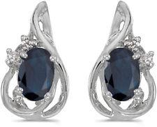 14k White Gold Oval Sapphire And Diamond Teardrop Earrings