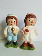 Raggedy Ann and Andy Ceramic Painted Ornaments Vintage 6.75 Inch