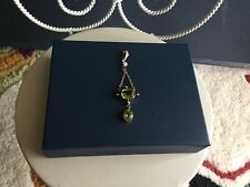 Birthstone) Seed Pearl Pendant Ladies 10K Victorian Peridot (August