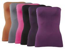 (R72f) Damen Bandeau Top viele Unifarben Tops Midi Tube Mini Rock NEU S / M / L