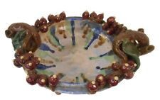 """Oriental Furnishings 15"""" W. Hand Carved Pinched Ceramic table Bowl"""