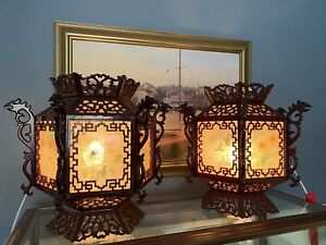 RARE Pair Of Asian Rosewood Palace Hanging Lantern Lights