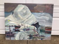 """Original Oil Painting by Willy Friedrich Burger """"Iceland of Swiss Harbor"""" Signed"""