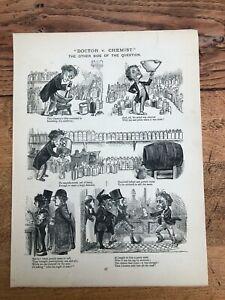 1878 cartoon print. the british working man. doctor v chemist & boat race idiots