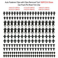 Plastic Fastener Rivets 190 Pcs Car Push Pin Rivet Trim Clips Kit Auto Fastener