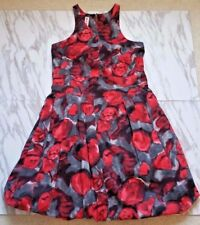 MARNI Women Raceback Red Floral Print Bubble Skirt Dress with Pockets Size 38