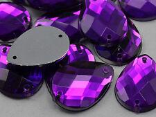 10 Purple Large Jumbo Tear Drop Rhinestones Gems Flat Back Sew On Bead