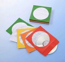100 CD Papierhüllen CD DVD Hüllen Bunt mit Lasche Papierumschlag mit Fenster