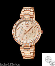 SHE-3043PG-9A Rose Gold Stainless Band Casio Sheen Ladies Watches Analog Light