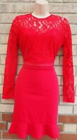 STUDIO ONE RED LACE LONG SLEEVE TIE BACK A LINE BODYCON PARTY SEXY DRESS 10 S