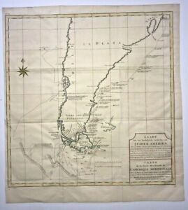 CHILE ARGENTINA MAGELLAN 1749 GEORGE ANSON VERY LARGE ANTIQUE SEA CHART