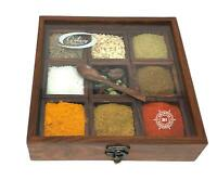 Wooden Spice Box Multipurpose Utility Table Top Handmade wooden Spice box with