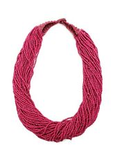 Ethnic Glass Seed Bead Multi Strand Statement Bib Fuchsia Purple Necklace