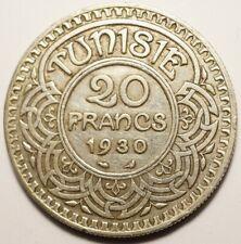TUNISIE : RARE 20 FRANCS ARGENT 1930 (20.000 ex.)