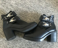 Chunky Black Ella Boots With Buckle Size 4 Ladies Girls Women's