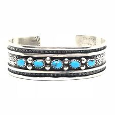 TURQUOISE Sterling Silver Navajo Row Stamped Cuff Bracelet 925 Vintage MARY JOE