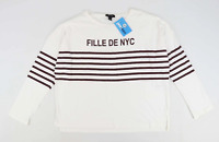 New Look Womens Size 18 Striped Cotton White Nyc T-Shirt (Regular)