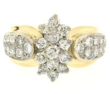 14k Yellow & White Gold 1.51ctw 33 Prong & Pave Set Round Diamond Cluster Ring