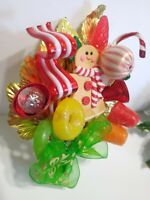 Vintage Christmas Corsage GINGERBREAD Girl Candy Land Package Tie