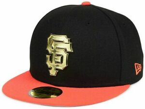 "San Francisco Giants MLB New Era ""Golden Finish"" 59FIFTY Fitted Hat-Black/Orange"