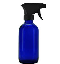 8 Oz Cobalt Blue Boston Round Glass Bottle (240 ml) w/ Trigger Spray - Pack of 6