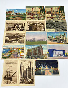 Vintage 1933 Chicago Postcard Lot Worlds Fair Swift Harrison Hotel Not Posted